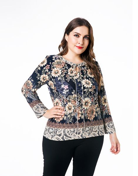 custom floral printed plus size top with neckline strings
